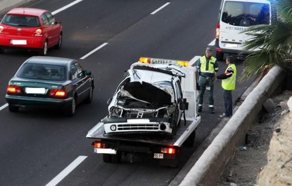 accidente tráfico vehículo volcado Adeje