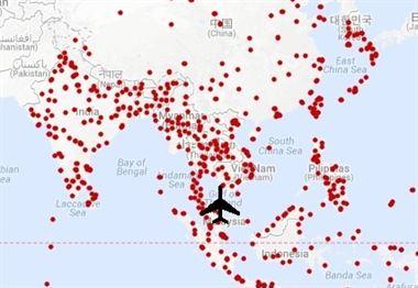 malasya: posibles puntos de aterrizaje del avión