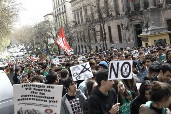 Imagen de la manifestación de estudiantes en Madrid. | EP