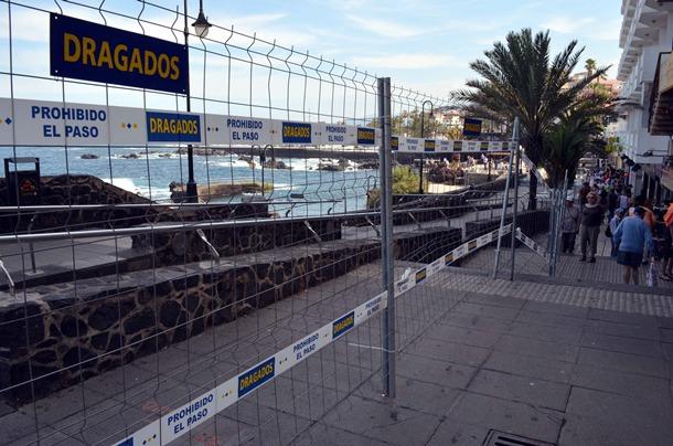 obras derribo del muro de San Telmo, en Puerto de la Cruz