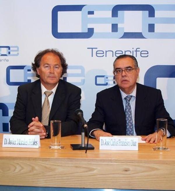 Morales y Francisco, durante la reunión en la sede de CEOE-Tenerife. / DA