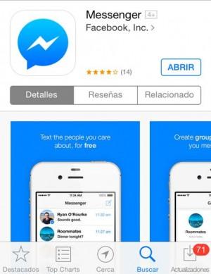 Captura del Facebook Messenger en la AppStore.   DA