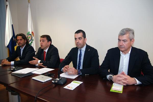 Gustavo Matos, José Manuel Bermúdez, Florentino Guzmán y Abbas Moujir, ayer en rueda de prensa. | DA