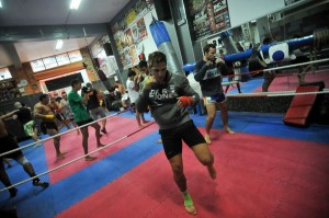 Jonay Risco, en una sesión de entrenamiento. / DA