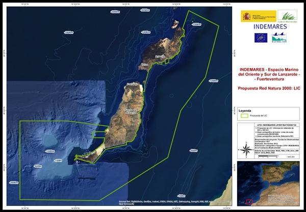 Plano del futuro LIC del Oriente y Sur de Lanzarote y Fuerteventura. / DA