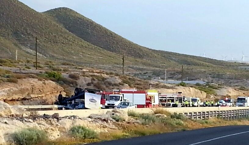 Imagen del accidente de tráfico en Arico donde falleció el conductor de un camión.   DA