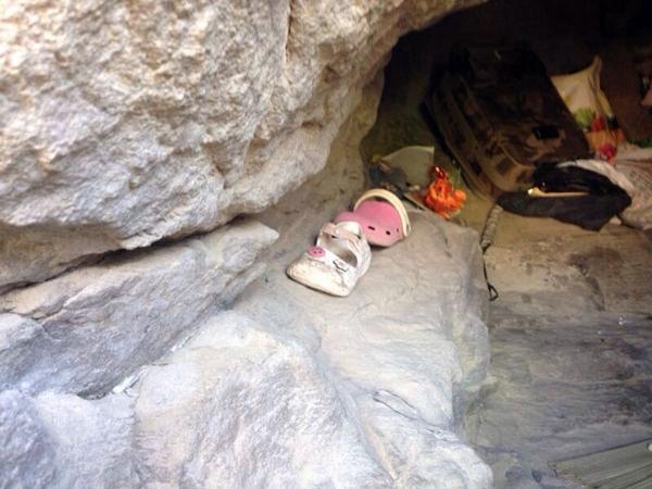 Detalle de la cueva de Montaña de Guaza en la que las pequeñas moraban con un conocido de su madre. / DA