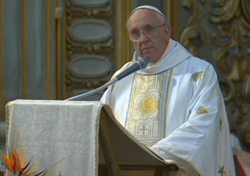 El papa Francisco, durante la misa en honor a José de Anchieta en Roma. /DA