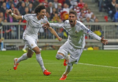 Sergio Ramos celebra su primer tanto. | REUTERS