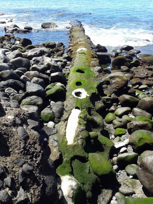 Estado actual del emisario en la playa de Igueste de San Andrés. / DA