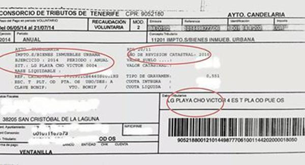 Imagen de un recibo remitido a un antiguo vecino de Cho Vito, con la supresión de datos confidenciales. / DA