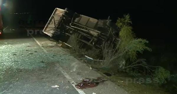 Imagen de la guagua después de sufrir el accidente. | EUROPA PRESS