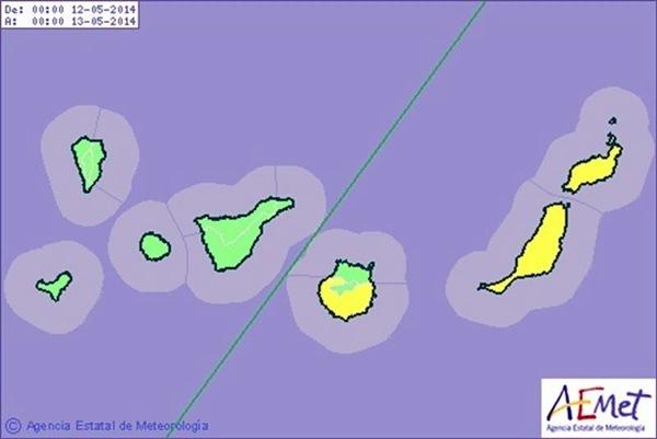 El mapa de la AEMET recoge que el riesgo por altas temperaturas se radica en la provincia oriental. /DA