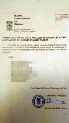 Documento supuestamente firmado por la alcaldesa con los nombres sugeridos. | DA