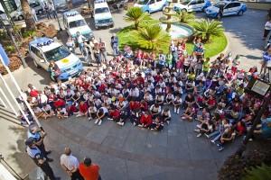 La exhibición de los agentes y el material policial se celebró en la plaza del Ayuntamiento. / DA