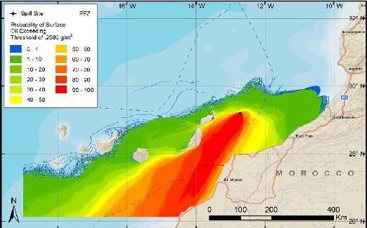 Mapa de Repsol, con las probabilidades de extensión de un derrame. / DA
