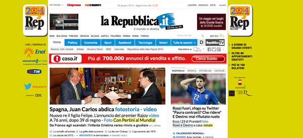 Portada del diario italiano La Reppublica el día de la abdicación del monarca español. / DA
