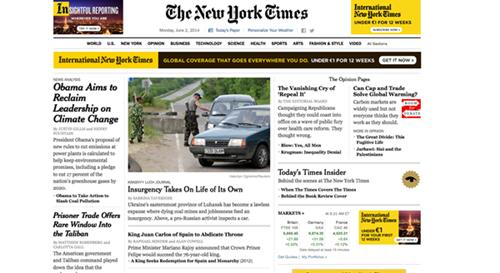 The New York Times no abre con la noticia de la abdicación del Rey, pero incluye la decisión histórica como segunda noticia. / DA