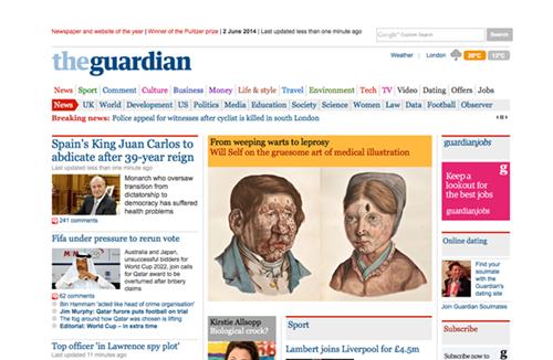 The Guardia, el medio líder en Reino Unido, coloca como primera información la abdicación. / DA