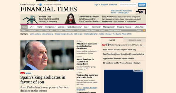 El Financial Times también se hace eco de la decisión del rey Juan Carlos. / DA