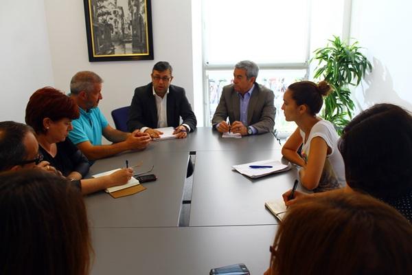 Un instante de la reunión celebrada en días pasados entre los responsables del Cabildo, el IASS y la Plataforma Tenerife. / DA