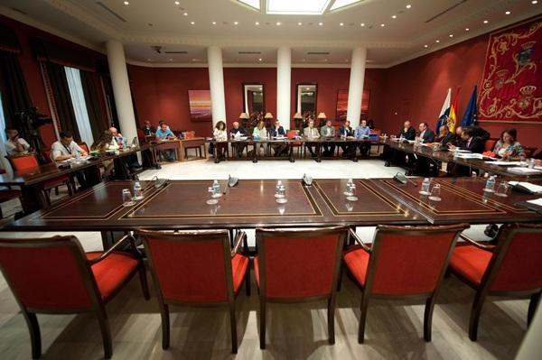 Las sillas vacías de los presidentes de los cabildos, ayer en la comisión del Parlamento canario. / FRAN PALLERO