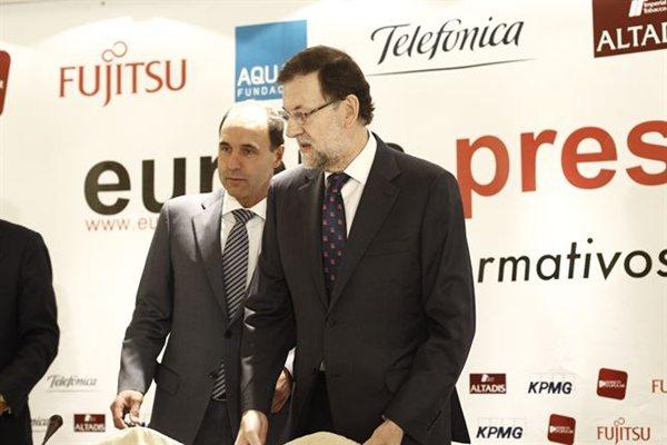 Rajoy, durante los Desayunos Informativos de Europa Press.   EP