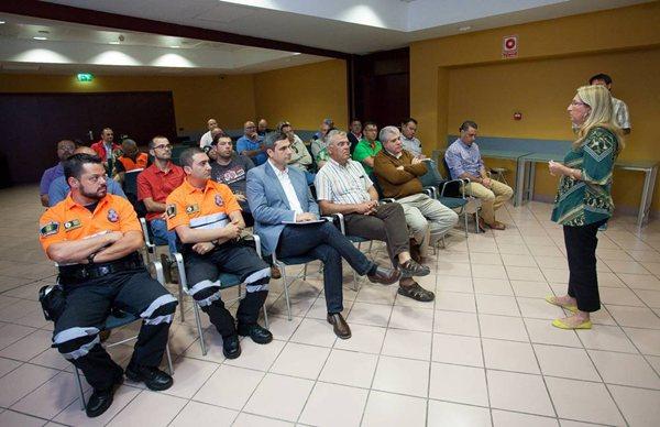 La consejera insular, durante el encuentro mantenido ayer con representantes de los consistorios. | DA