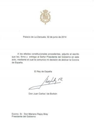Documento abdicación rey Juan Carlos