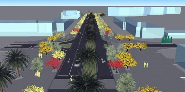 Croquis del proyecto de la nueva avenida de Los Pueblos que se realizará en ocho meses. / DA