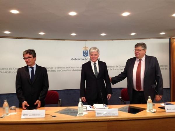 José Miguel Pérez, Alberto Delgado y Andrés Orozco en la rueda de prensa. | EUROPA PRESS