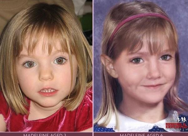 A la izquierda, Madeleine con la edad con la que desapareció y a la derecha, retrato robot de la niña con 6 años. | REUTERS