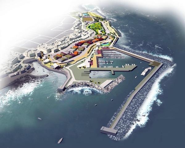 La maqueta del futuro muelle portuense fue presentado hace un mes por las administraciones implicadas. / DA