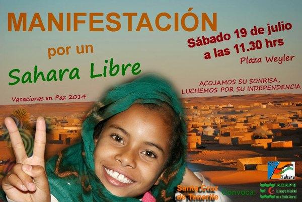 Cartel de la manifestación en apoyo al pueblo saharaui. | DA