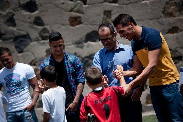 Perera, Cervera, Nano y Vitolo saludan a los participantes en el campus.   FRAN PALLERO