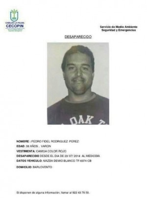 Comunicado con foto y datos del desaparecido.   DA