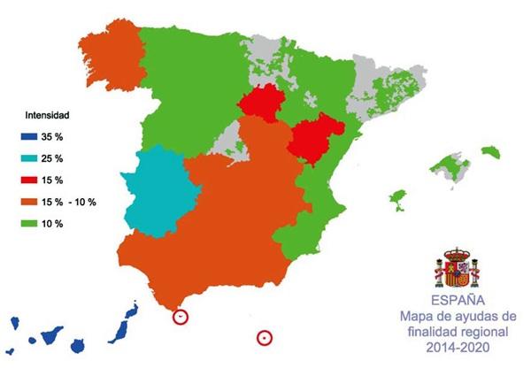 Imagen del mapa de ayudas de finalidad regional 2014-2020. / DA