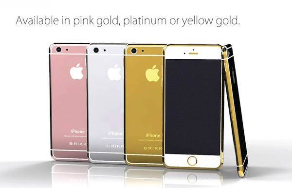 Las distintas ediciones de lujo del iPhone 6 que vende la empresa Brikk. | DA