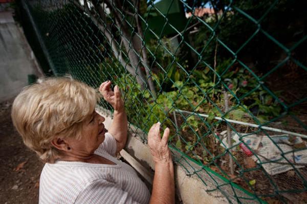 Berta Ferreiro mira con tristeza el patio de la que hasta hace dos semanas era su casa, en el número 102 de la calle de Ismael Domínguez, en Tacoronte. / FRAN PALLERO
