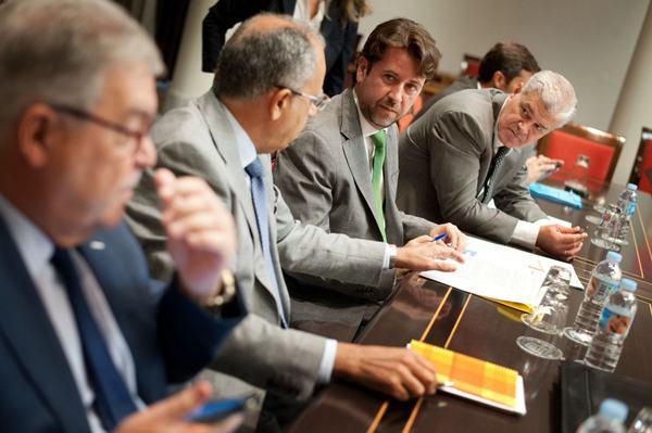 Los presidentes de los cabildos, ayer, durante el desarrollo de una comisión del Parlamento. | FRAN PALLERO