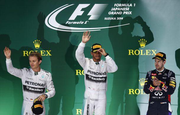 Podio final del GP de Japón 2014. / REUTERS
