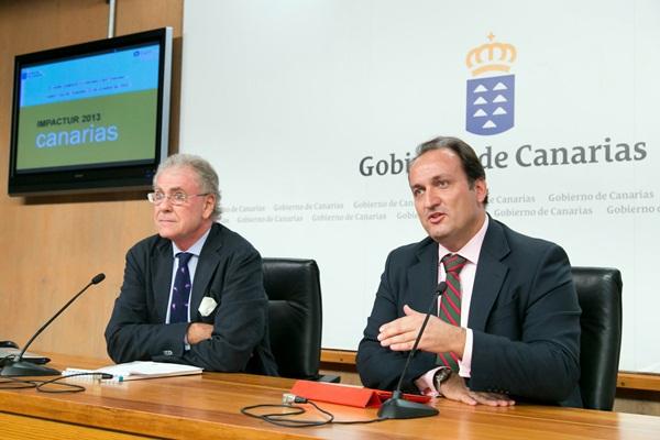 El vicepresidente de Exceltur, José Luis Zoreda (izq.) y el viceconsejero del Gobierno regional. / DA