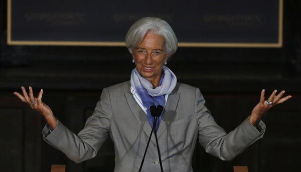La máxima repsonsable del FMI, Lagarde, en una conferencia reciente. / REUTERS