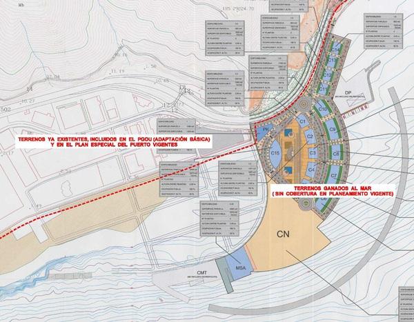 Proyecto original del puerto deportivo de San Andrés que fue modificado por la Autoridad Portuaria. / DA
