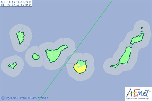 Aviso amarillo en el este, sur y oeste de Gran Canaria hoy lunes. | DA