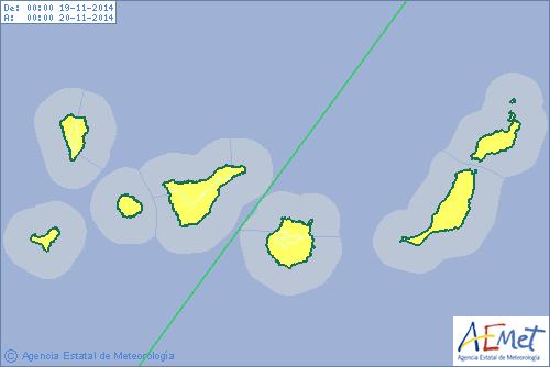 Aviso amarillo en todas las islas de Canarias para el miércoles. | DA