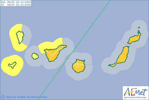 Avisos de la Aemet para Canarias durante el día de hoy. | DA
