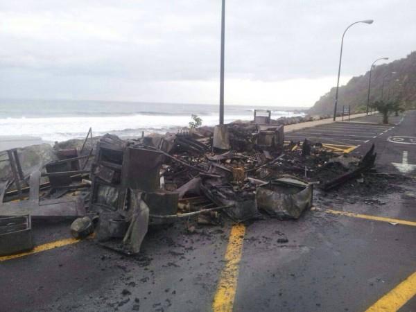 Imagen del kiosko quemado. | Los Realejos Meteorología