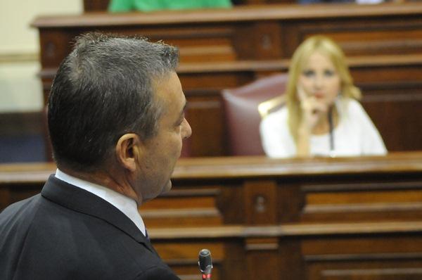 Paulino Rivero, durante un pleno del Parlamento canario, ante la portavoz del PP, Australia Navarro. / DA