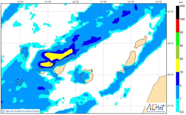 Mapa de la predicción de precipitaciones durante esta madrugada en Canarias. | Aemet